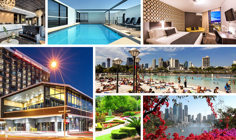 a collage of images of the Hotel Grand Chancellor Brisbane